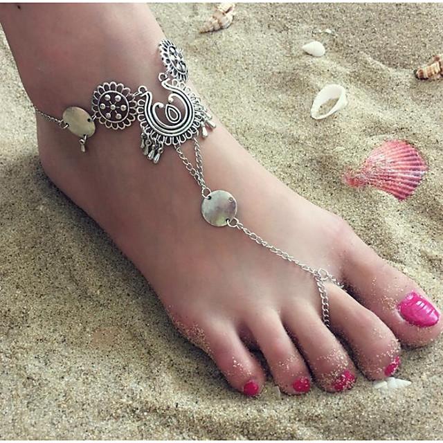 Barfotsandaler مجوهرات القدمين سيدات بسيط عتيق نسائي مجوهرات الجسم  من أجل مناسب للحفلات هدية سبيكة قطرة وردة فضي 1PC