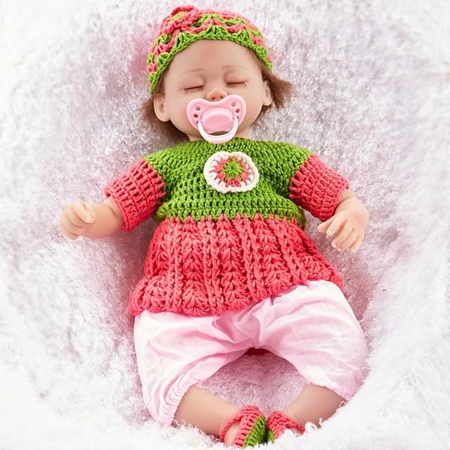 FeelWind 18 pouce Poupées Reborn Fille Poupée Bébés Fille réaliste Economique Fabrication à la main Tissu Membres en silicone 3/4 et corps rempli de coton cadeaux noël enfant avec vêtements et