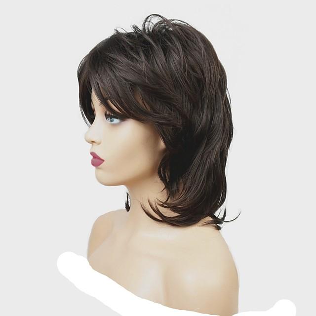 Perruque Synthétique Mat Partie médiane Perruque Moyen Châtain Cheveux Synthétiques Femme 100% cheveux kanekalon Marron foncé StrongBeauty