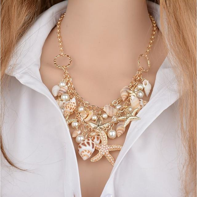 Per donna Collane con ciondolo Multistrato Stella marina Conchiglia Donne Classico Perle finte Conchiglie Conchiglia Oro 46+5 cm Collana Gioielli 1pc Per Bikini
