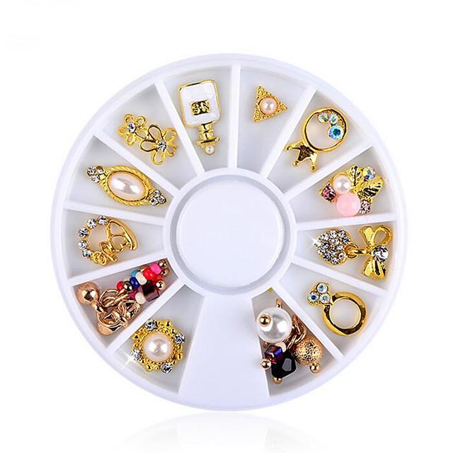 12 pcs ציפורן מלאכותית טיפים תכשיטים לציפורניים עיצוב אופנתי עיצוב ציפורניים פדיקור מניקור לבוש יומיומי גביש / מסוגנן / מסמר תכשיטים