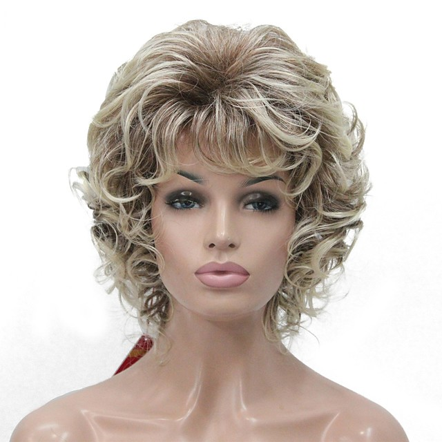 Perruque Synthétique Bouclé Partie médiane Perruque Blond Court Blond Cheveux Synthétiques Femme 100% cheveux kanekalon Blond StrongBeauty