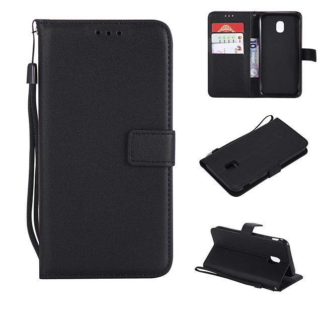 Case For Samsung Galaxy J7 Prime / J7 (2017) / J7 (2016) Wallet / Card Holder / Flip Full Body Cases Solid Colored Hard PU Leather