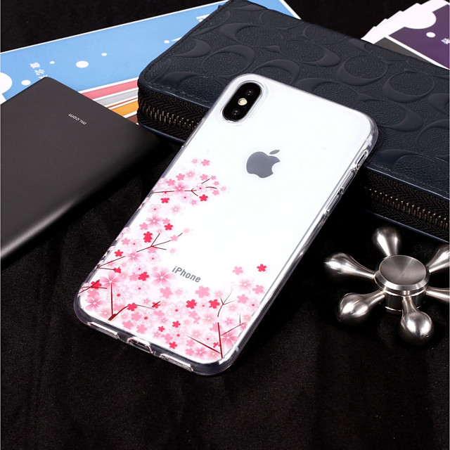 غطاء من أجل Apple iPhone X / iPhone 8 Plus / iPhone 8 IMD / شفاف / نموذج غطاء خلفي زهور ناعم TPU