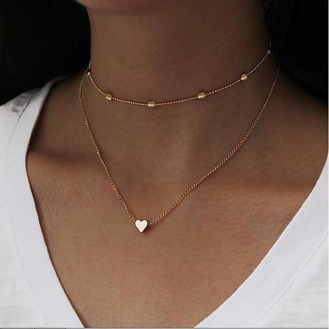 Pentru femei Coliere Choker Lănțișoare Multistratificat Chainul gros stivuibil Inimă Iubire femei Simplu Vintage Multistratificat MetalPistol Aliaj Auriu Argintiu 35 cm Coliere Bijuterii 1 buc Pentru