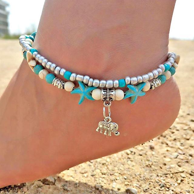 Bracelet de cheville bijoux de pieds dames Bohème Rétro Vintage Femme Bijoux de Corps Pour Sortie Bikini Turquoise Alliage Eléphant Animal Turquoise