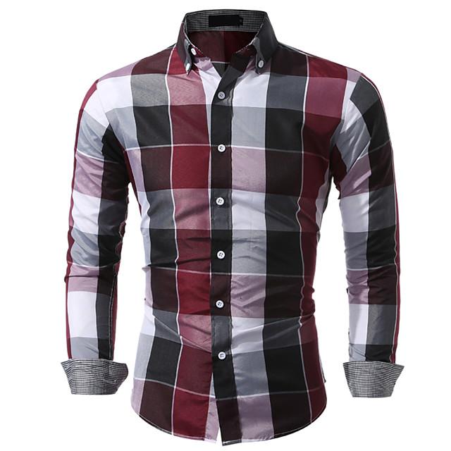 Voor heren Overhemd Ruitjes Blokken Tops blauw Rood