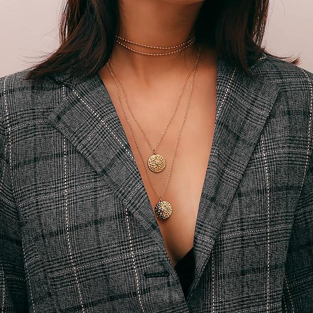 نسائي قلائد الحلي القلائد الطبقات طويل سيدات أنيق عتيق سبيكة ذهبي فضي 28+7 cm قلادة مجوهرات 1PC من أجل هدية مناسب للبس اليومي / قلادة طويلة
