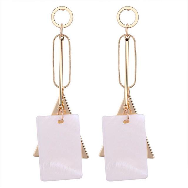 สำหรับผู้หญิง Drop Earrings ยาว สุภาพสตรี Stylish ต่างหู เครื่องประดับ สีทอง / สีขาว สำหรับ โรงเรียน วันเกิด 1 คู่