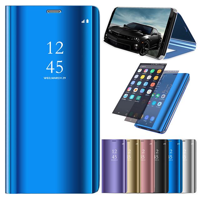 غطاء من أجل Samsung Galaxy A6 (2018) / A6+ (2018) / A3 (2017) مع حامل / تصفيح / مرآة غطاء كامل للجسم لون سادة قاسي جلد PU
