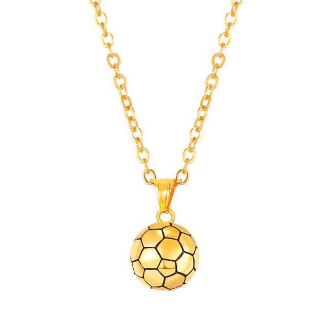 رجالي قلائد الحلي طويل كرة كرة موضة الفولاذ المقاوم للصدأ أسود ذهبي فضي 55 cm قلادة مجوهرات 1PC من أجل هدية مناسب للبس اليومي