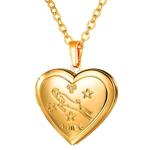Collier Pendentif Femme Long Zodiaque Gravé Médaillon bélier dames Romantique Mode Heart Dorée Argent 55 cm Colliers Tendance Bijoux 1pc pour Cadeau Quotidien