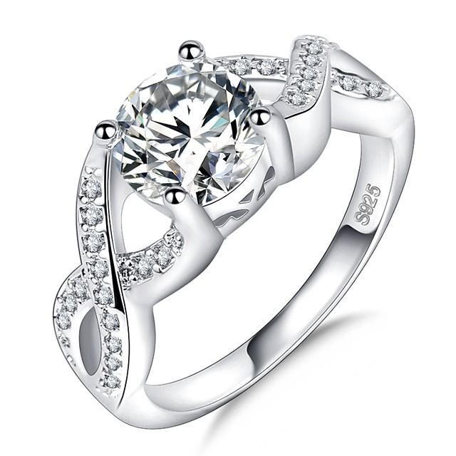 خاتم عبور فضي مطلي بالبلاتينيوم تقليد الماس ذهب ابيض ثمين ما لا نهاية سيدات تصميم فريد أنيق 1PC 5 6 7 8 9 / نسائي