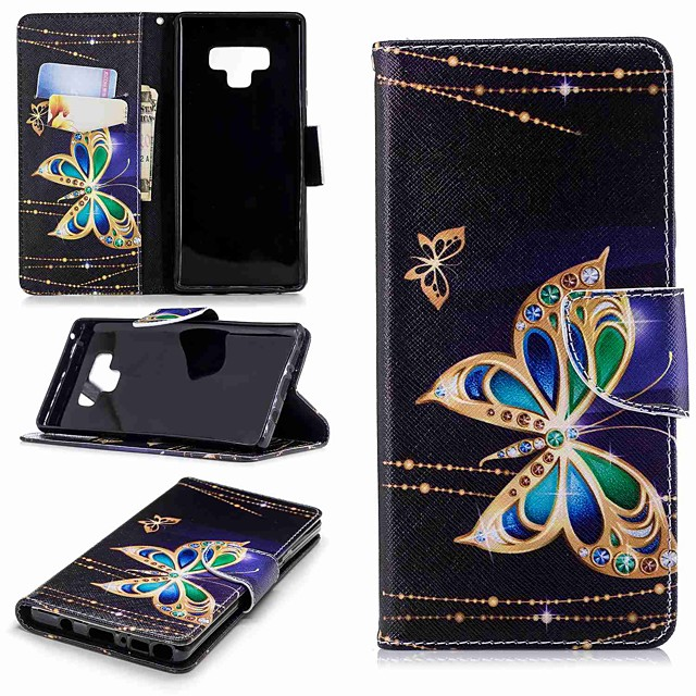 Case For Samsung Galaxy Note 9 / Note 8 Wallet / Card Holder / with Stand Full Body Cases Butterfly Hard PU Leather