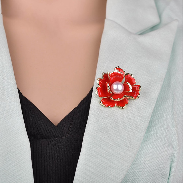 女性用 ブローチ 3D フラワー レディース ヴィンテージ 欧風 人造真珠 ブローチ ジュエリー ブラック レッド 用途 パーティー オフィス&キャリア