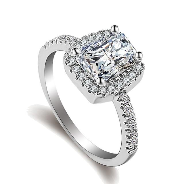 Dames Ring Belle Ring Micro Pave Ring 1pc Zilver Messinki Platina Verguld Gesimuleerde diamant Dames Klassiek Romantisch Bruiloft Lahja Sieraden Stijlvol patiencespel Emerald Cut Kostbaar Stel je voor