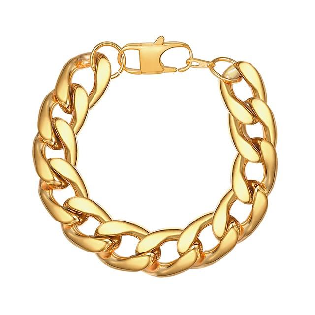 رجالي أساور السلسلة والوصلة سلسلة سميكة خلاق شائع موضة الفولاذ المقاوم للصدأ مجوهرات سوار أسود / ذهبي / فضي من أجل هدية مناسب للبس اليومي