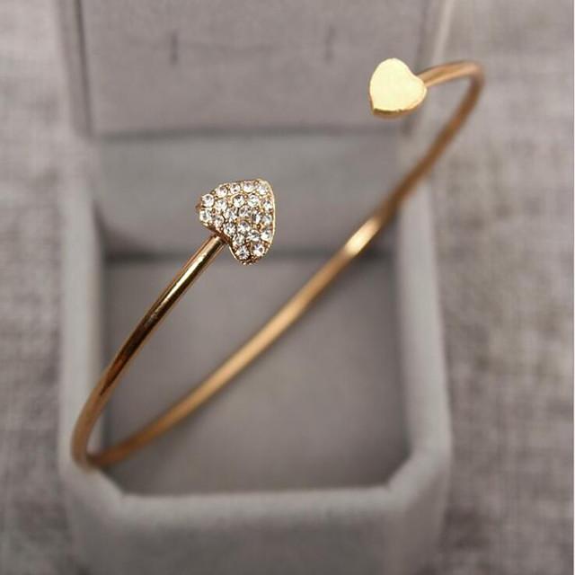 Pentru femei Zirconiu Cubic diamant mic Brățări Bangle Brățări Bantă Inimă Iubire Prietenie femei Simplu De Bază Modă De Fiecare Zi Ștras Bijuterii brățară Auriu / Argintiu Pentru Nuntă Petrecere Zi