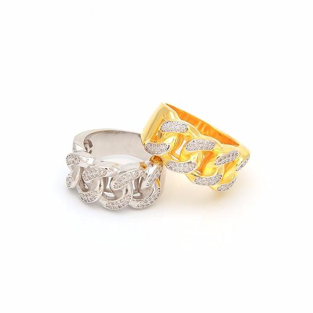 خاتم مكعب زركونيا جديلي ذهبي فضي نحاس خلاق ألهم شائع غلو هيب هوب 1PC 8 9 10 11 / رجالي