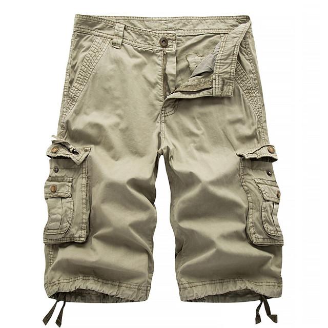 Homme Chic de Rue Militaire Sortie Chino Short Pantalon cargo Pantalon Couleur Pleine Longueur genou Noir Bleu Rouge Kaki Vert