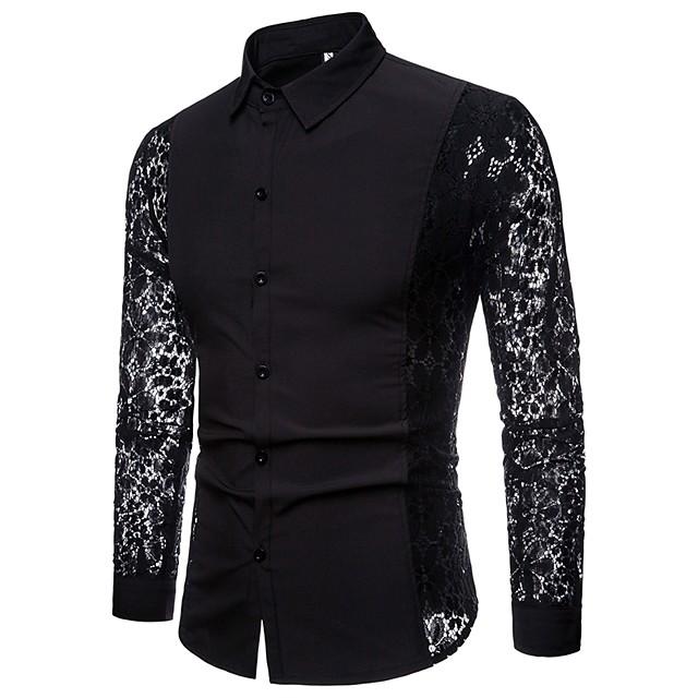 رجالي لون سادة قميص دانتيل مقصوص بقع كم طويل مناسب للبس اليومي قمم ترف أساسي مثيرة أبيض أسود / نادي