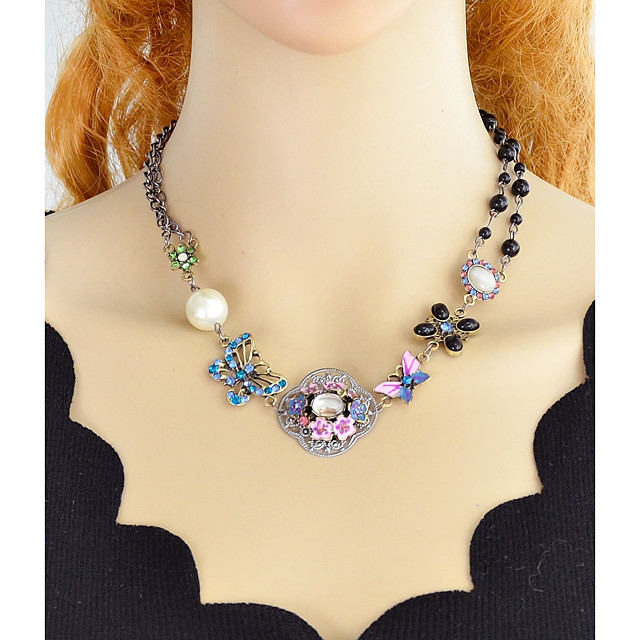 Women's Statement Necklace Single Strand Flower Ladies Simple Fashion Chunky Alloy Rainbow 44.2 cm Necklace Jewelry 1pc For Party / Evening School