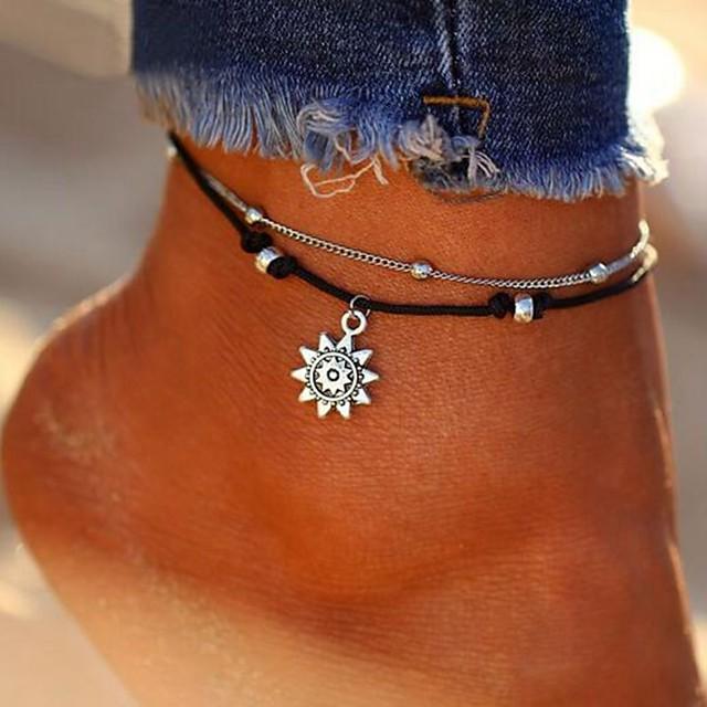 خلخال مجوهرات القدمين سيدات أنيق كلاسيكي نسائي مجوهرات الجسم  من أجل مناسب للبس اليومي بيكيني متعدد الطبقات جلد سبيكة الشمس فضي 1PC