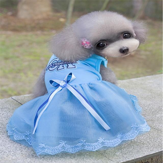 كلاب قطط حيوانات أليفة الفساتين ملابس الجرو قلب أميرة ستايل رياضي فساتين & تنورات ملابس الكلاب ملابس الجرو ملابس الكلب أزرق زهري كوستيوم للفتاة والفتى الكلب جاكار القطن قطن XS S M L XL XXL