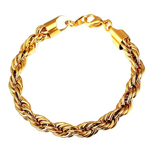 رجالي أسورة حبل الملتوية خلاق موضة الفولاذ المقاوم للصدأ مجوهرات سوار ذهبي / أسود / فضي من أجل هدية مناسب للبس اليومي