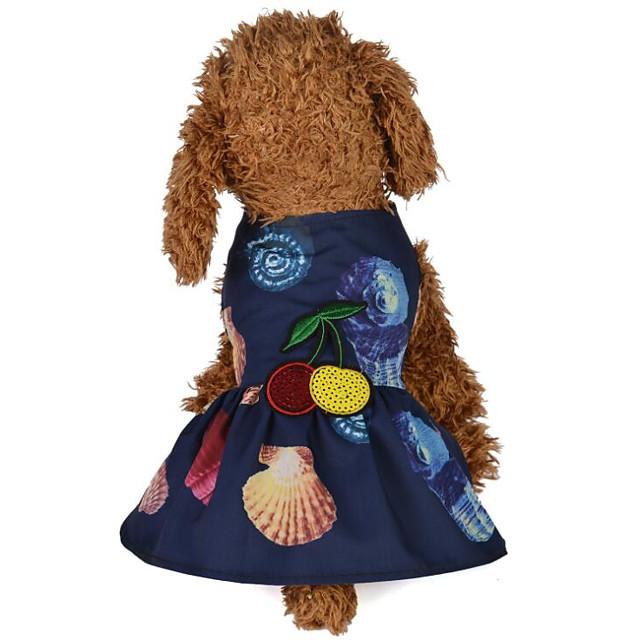 كلاب قطط الفساتين ملابس الجرو الأزهار / النباتية طباعة رد الفعل وردة قطعة واحدة فساتين & تنورات ملابس الكلاب ملابس الجرو ملابس الكلب زهري أزرق داكن كوستيوم للفتاة والفتى الكلب تيريليني S M L