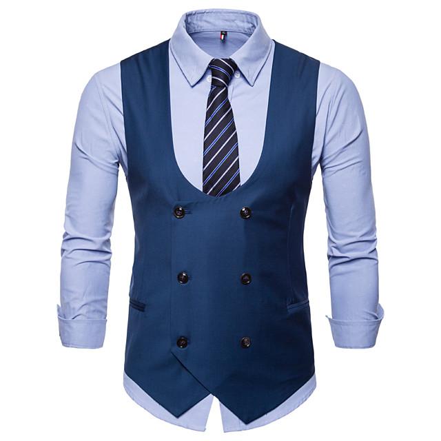 رجالي V رقبة Vest عادية لون سادة مناسب للبس اليومي عمل الأعمال التجارية أساسي قياس كبير الخريف الشتاء بدون كم أسود / أزرق / جمل M / L / XL / نصف رسمي / نحيل