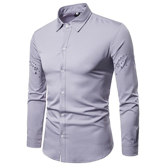 رجالي لون سادة قميص مقصوص كم طويل مناسب للبس اليومي قمم الأعمال التجارية أساسي أبيض أسود أحمر / عمل