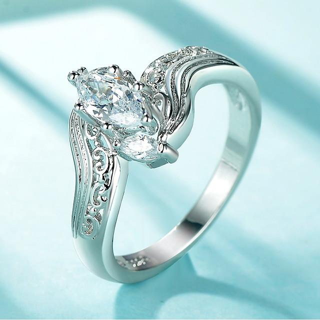 Inel Stl Argintiu Articole de ceramică Placat cu platină Diamante Artificiale Ochi Deochi femei Elegant La modă 1 buc 6 7 8 9 / Pentru femei