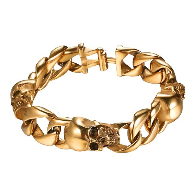رجالي أسورة ربط سلسلة جمجمة موضة الفولاذ المقاوم للصدأ مجوهرات سوار أسود / ذهبي / فضي من أجل هدية شارع