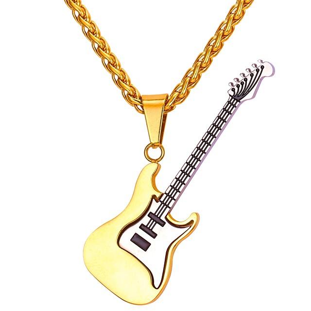 رجالي قلائد الحلي حبل سلسلة فرانكو موسيقى قيثارة موضة الفولاذ المقاوم للصدأ ذهبي 55 cm قلادة مجوهرات 1PC من أجل هدية مناسب للبس اليومي