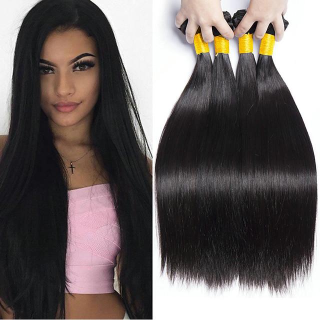 4 pakettia Hiuskudokset Brasilialainen Suora Ihmisen hiustenpidennykset Remy-hius 100 % Remy-hiuslisäkkeet 400 g Hiukset kutoo Aitohiuspidennykset 8-28 inch Luonnollinen väri Luonto musta Irtoaa / 8A
