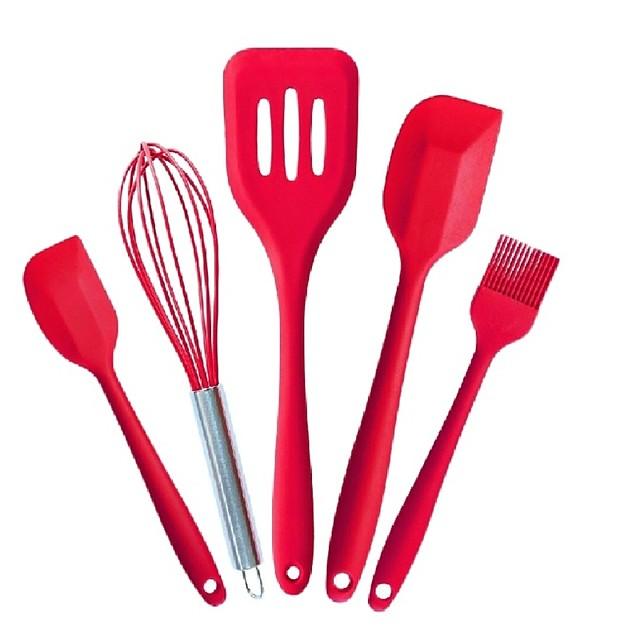 5 قطعة / المجموعة سيليكون أواني المطبخ الخبز المعجنات مكشطة زيت التدفئة صحية spatulas المنزلية سيليكون أدوات المطبخ