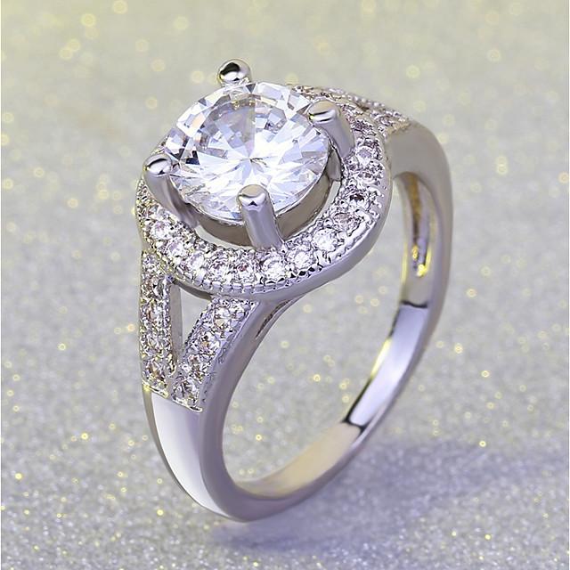 Bague / Anneaux Tendance Argent Laiton Platiné Imitation Diamant Yeux Boule dames Luxe Romantique 1pc 5 6 7 8 9 / Femme / Bague de Fiancaille