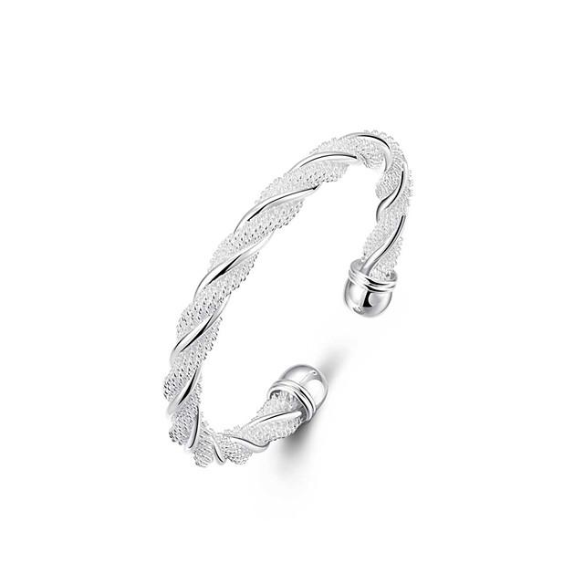 Pentru femei Brățări Bangle Brățări Bantă Răsucit Țesătură Cercul Twist femei Design Unic Modă Deschis Italiană Argilă Bijuterii brățară Argintiu Pentru Nuntă Petrecere Cadou Zilnic Casual