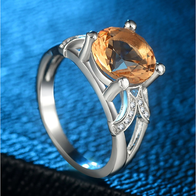 Statement Ring Citrine Stylish Yellow Brass Platinum Plated Imitation Diamond Creative Ladies Unique Design Elegant 1pc 5 6 7 8 9 / Women's