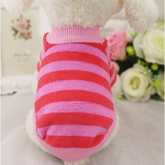 Dog Cat Pets Sweater Sweatshirt Puppy Clothes Stripes Sweet Style Leisure Dog Clothes Puppy Clothes Dog Outfits Stripe Costume for Girl and Boy Dog 100% Coral Fleece XS S M L XL XXL