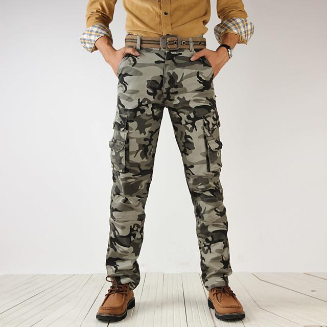 Homme basique Militaire Quotidien Sports Chino Joggings Pantalon cargo Pantalon camouflage Vert Véronèse Gris