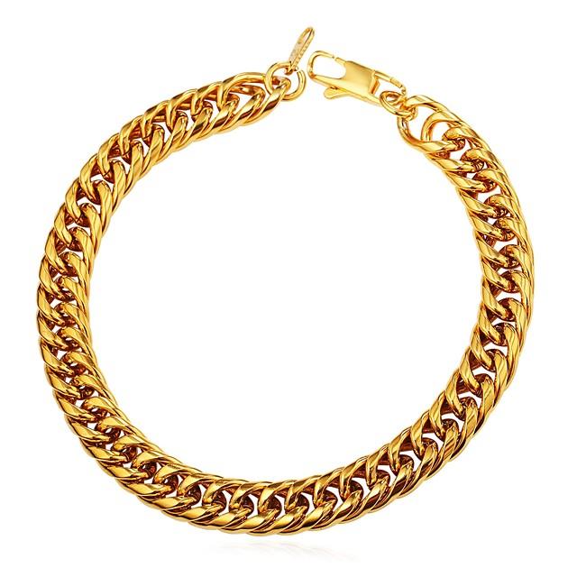 בגדי ריקוד גברים שרשרת וצמידים שרשרת עבה יצירתי אופנתי פלדת על חלד צמיד תכשיטים שחור / זהב / כסף עבור מתנה יומי