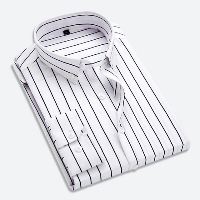 رجالي مخطط قميص كم طويل مناسب للبس اليومي قمم الأعمال التجارية أساسي ياقة كلاسيكية أبيض أسود أزرق / عمل