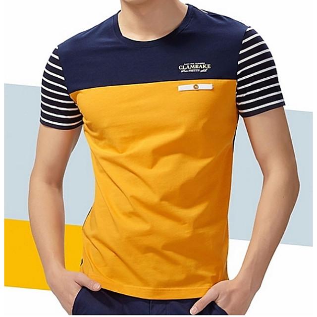 Homme T-shirt Chemise Rayé Graphique Bloc de Couleur Grandes Tailles Patchwork Manches Courtes Sortie Hauts Coton Col Rond Bleu Jaune Gris