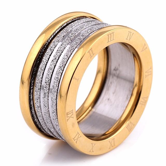 خاتم فينتاج ذهبي ذهبي-أسود الصلب التيتانيوم رقم سيدات أنيق أوروبي 1PC 6 7 8 9 / الزوجين
