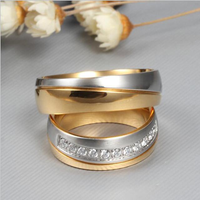 Snubní prsteny Kubický zirkon Dvoubarevné Zlatá Titanová ocel Titan Ocel přátelství dámy Elegantní Módní 2pcs / Pro páry / Pro páry