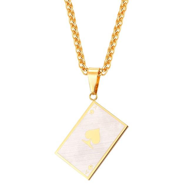 رجالي قلائد الحلي حبل رسالة موضة الفولاذ المقاوم للصدأ أسود ذهبي 55 cm قلادة مجوهرات 1PC من أجل هدية مناسب للبس اليومي