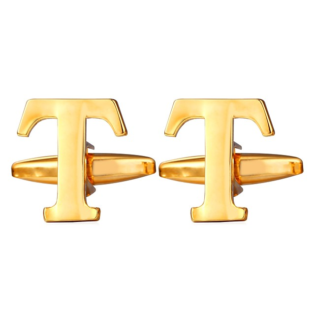 أزرار أكمام Alphabet Shape معدني رسمي بروش مجوهرات ذهبي فضي من أجل هدية مناسب للبس اليومي