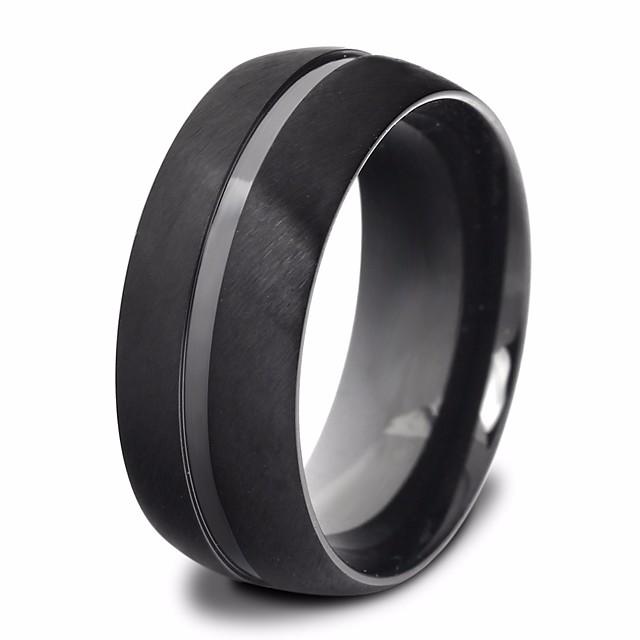 خاتم كلاسيكي أسود الصلب التيتانيوم هندسي أساسي شائع 1PC 7 8 9 10 11 / رجالي